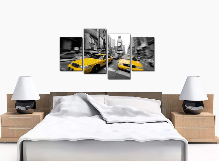 4 Piece Set of Bedroom Yellow Canvas Picture