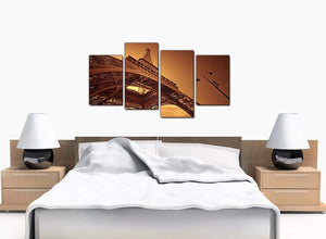 Four Part Set of Bedroom Brown Canvas Wall Art