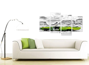 Abstract Lime Green Grey Car Desert Landscape Canvas