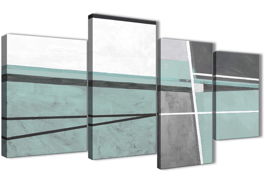 Extra Large Duck Egg Blue Grey Painting Abstract Bedroom Canvas Wall Art Decor - 4396 - 130cm Set of Prints
