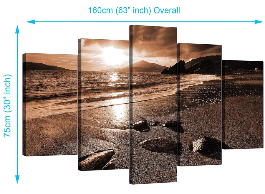 Set Of Five Living-Room Brown Canvas Pictures