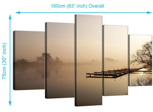 5 Part Set of Living-Room Brown Canvas Picture