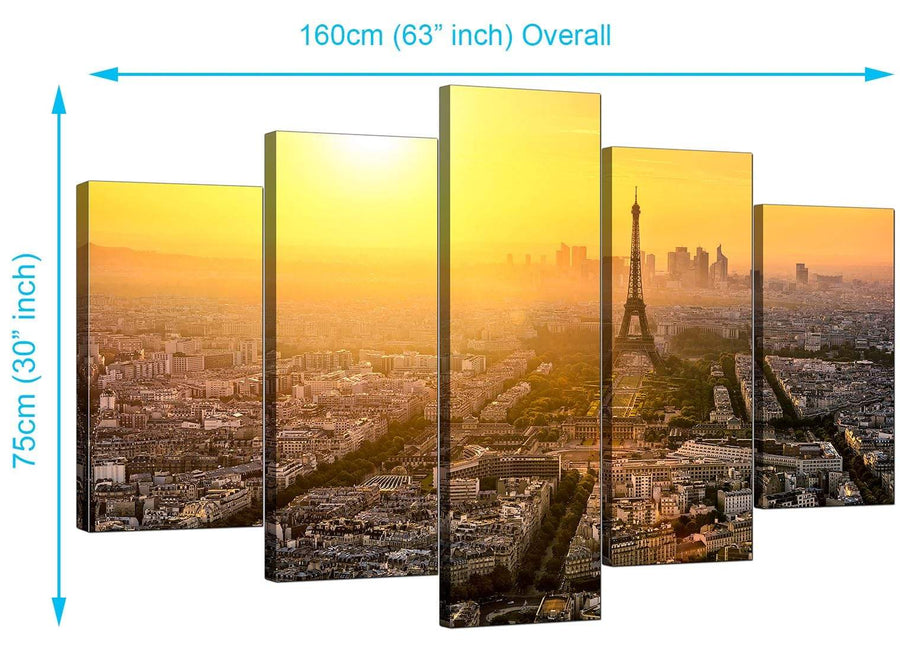 5 Piece Set of Extra-Large Yellow Canvas Pictures