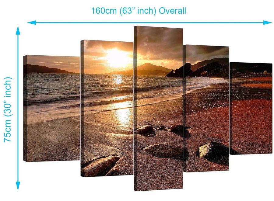 5 Panel Set of Modern Brown Canvas Wall Art