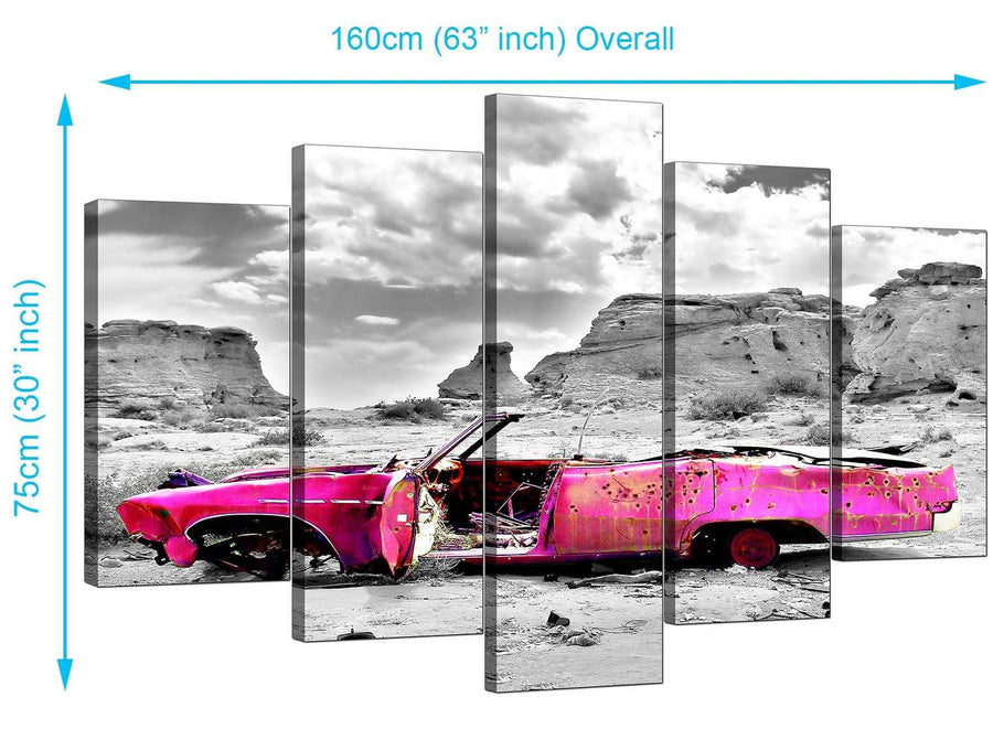 Set Of Five Extra-Large Pink Canvas Wall Art