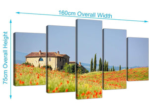 extra large floral tuscan hills canvas wall art green 5233