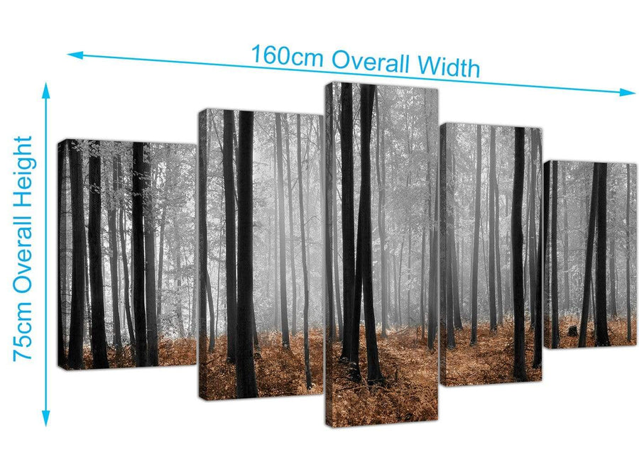 extra large forest woodland trees canvas wall art black and white 5238