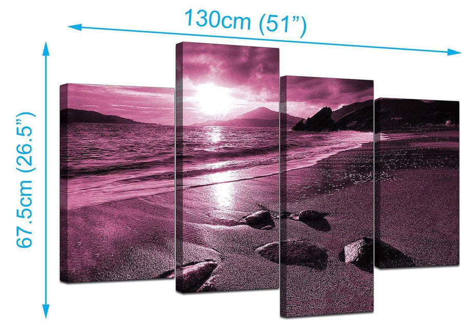 4 Piece Set of Living-Room Plum Canvas Pictures