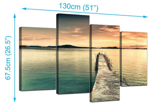Four Panel Set of Modern Blue Canvas Pictures