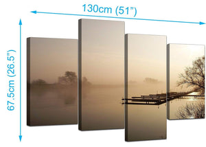 4 Part Set of Extra-Large Brown Canvas Picture