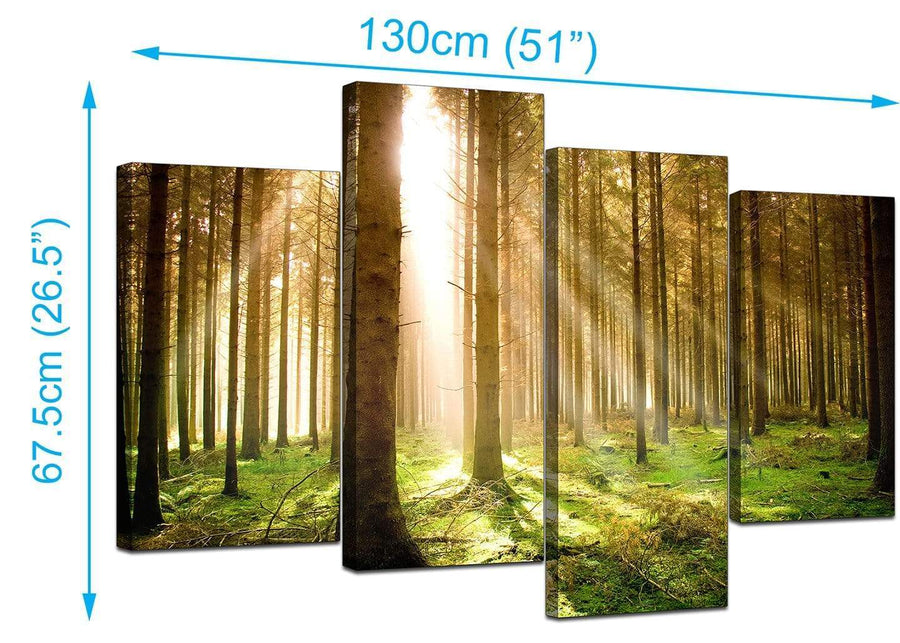 4 Panel Set of Living-Room Green Canvas Prints