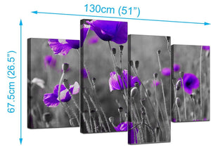 Set Of 4 Living-Room Purple Canvas Pictures