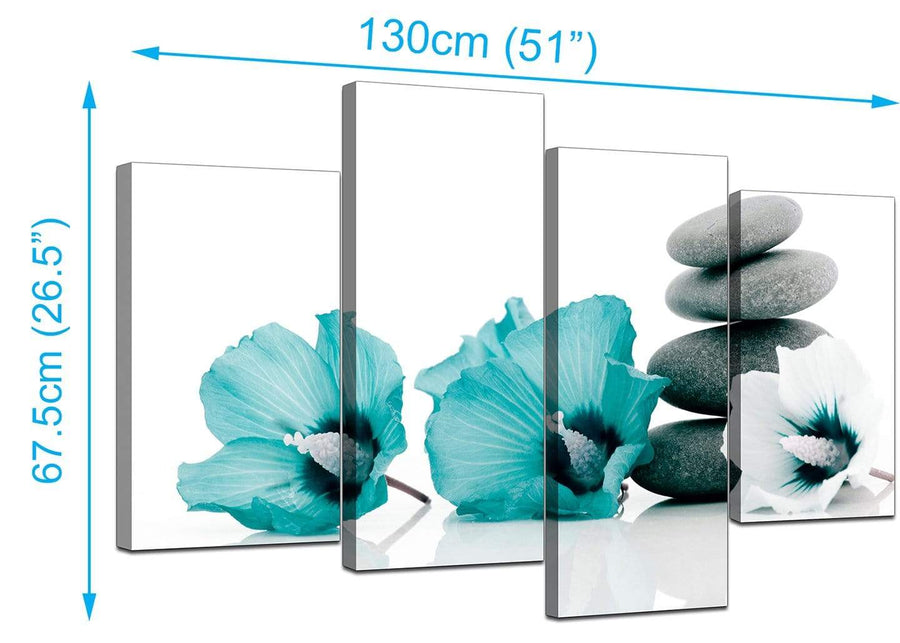 Set Of 4 Living-Room Teal Canvas Picture
