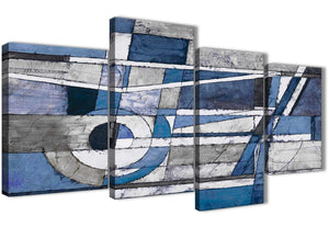 Extra Large Indigo Blue White Painting Abstract Bedroom Canvas Pictures Decor - 4404 - 130cm Set of Prints