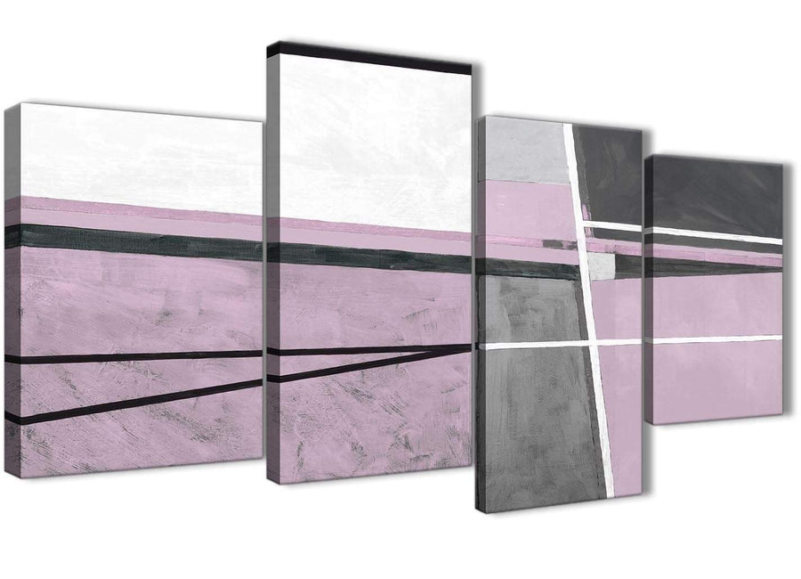 Extra Large Lilac Grey Painting Abstract Bedroom Canvas Pictures Decor - 4395 - 130cm Set of Prints