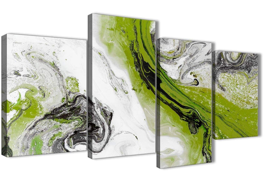 Extra Large Lime Green and Grey Swirl Abstract Bedroom Canvas Wall Art Decor - 4464 - 130cm Set of Prints