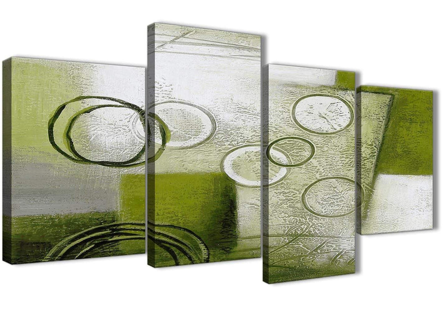 Extra Large Lime Green Painting Abstract Bedroom Canvas Pictures Decor - 4434 - 130cm Set of Prints