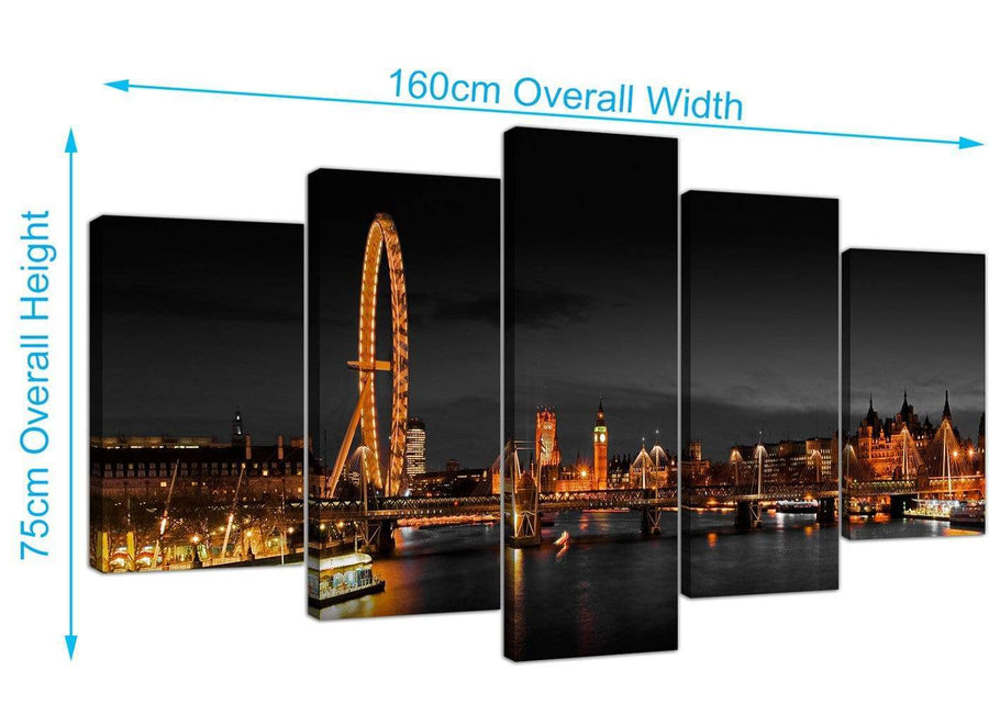 Extra Large London Eye Canvas Prints UK 160cm x 75cm 5186