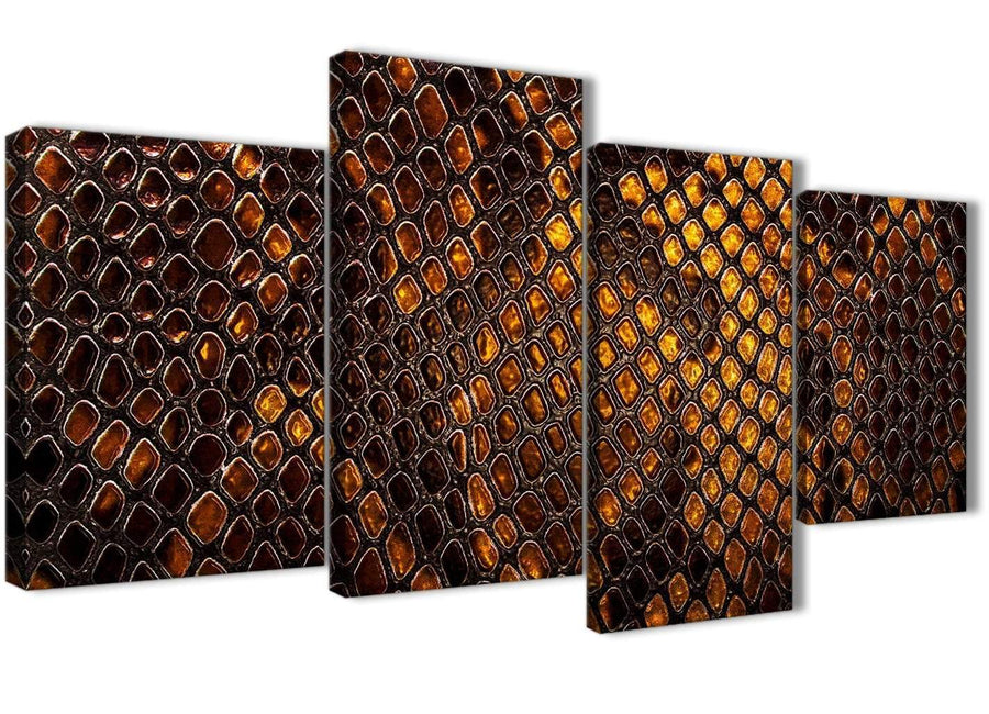 Extra Large Mustard Gold Snakeskin Animal Print Abstract Living Room Canvas Wall Art Decor - 4474 - 130cm Set of Prints