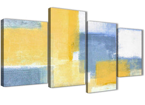 Extra Large Mustard Yellow Blue Abstract Living Room Canvas Pictures Decor - 4371 - 130cm Set of Prints