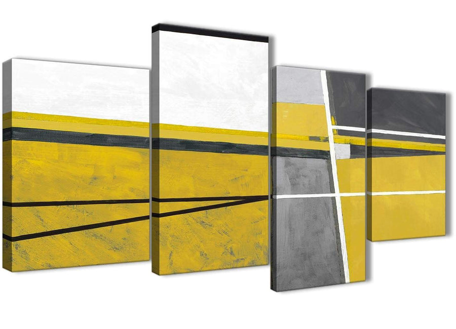 Extra Large Mustard Yellow Grey Painting Abstract Living Room Canvas Wall Art Decor - 4388 - 130cm Set of Prints