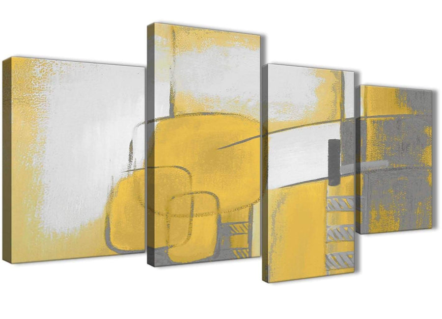 Extra Large Mustard Yellow Grey Painting Abstract Bedroom Canvas Wall Art Decor - 4419 - 130cm Set of Prints