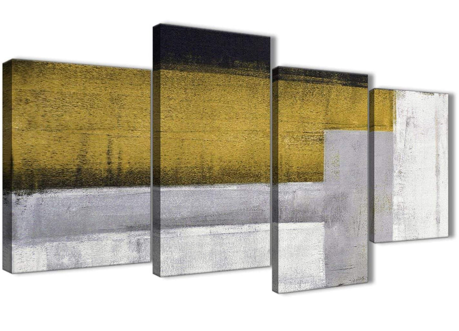 Extra Large Mustard Yellow Grey Painting Abstract Bedroom Canvas Wall Art Decor - 4425 - 130cm Set of Prints