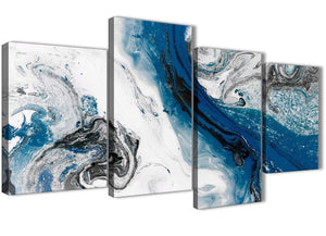 Extra Large Blue and Grey Swirl Abstract Bedroom Canvas Pictures Decor - 4465 - 130cm Set of Prints