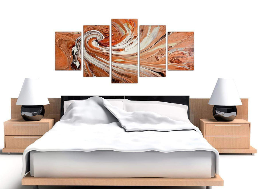 extra large orange abstract swirl canvas art 5264