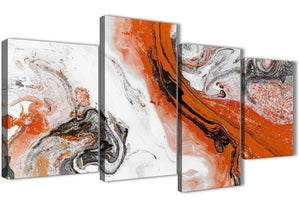 Extra Large Orange and Grey Swirl Abstract Bedroom Canvas Pictures Decor - 4461 - 130cm Set of Prints