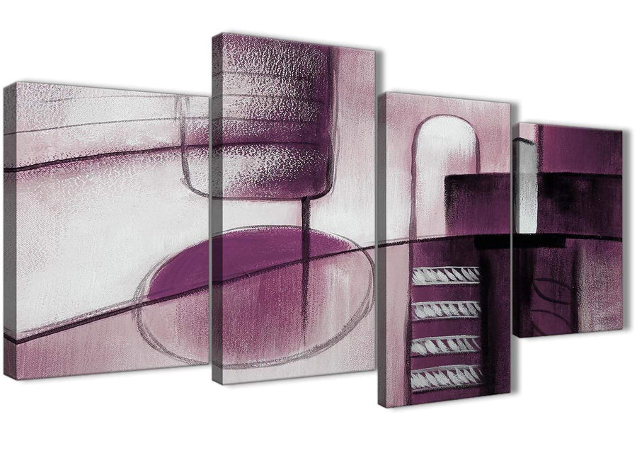 Extra Large Plum Grey Painting Abstract Bedroom Canvas Pictures Decor - 4420 - 130cm Set of Prints