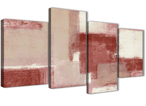 Extra Large Red and Cream Abstract Bedroom Canvas Pictures Decor - 4370 - 130cm Set of Prints