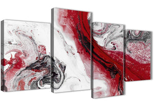 Extra Large Red and Grey Swirl Abstract Bedroom Canvas Pictures Decor - 4467 - 130cm Set of Prints