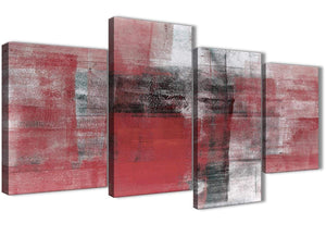 Extra Large Red Black White Painting Abstract Living Room Canvas Pictures Decor - 4397 - 130cm Set of Prints