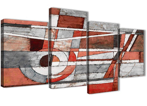 Extra Large Red Grey Painting Abstract Bedroom Canvas Wall Art Decor - 4401 - 130cm Set of Prints