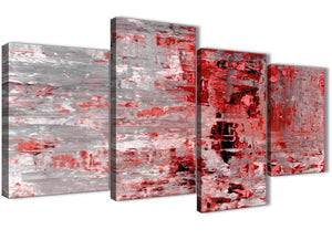 Extra Large Red Grey Painting Abstract Living Room Canvas Wall Art Decor - 4414 - 130cm Set of Prints