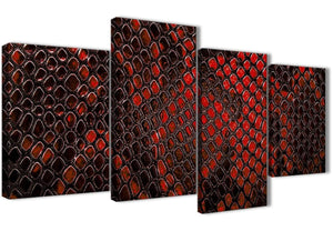 Extra Large Red Snakeskin Animal Print Abstract Living Room Canvas Pictures Decor - 4476 - 130cm Set of Prints