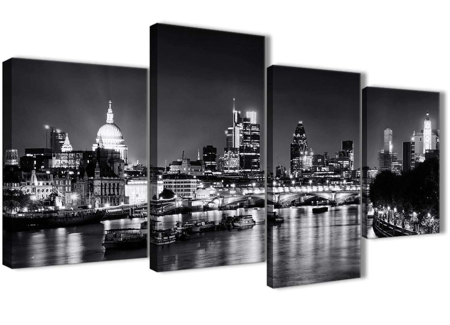 Extra Large River Thames Skyline of London Canvas Art Prints - Landscape - 4430 Black White Grey - 130cm Set of Pictures