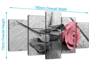 extra large rose canvas wall art black white and pink 5271