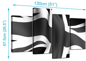 4 Part Set of Living-Room Black White Canvas Wall Art