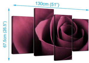 Set Of 4 Living-Room Plum Canvas Wall Art