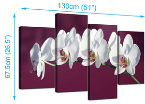 Four Part Set of Extra-Large Plum Canvas Picture
