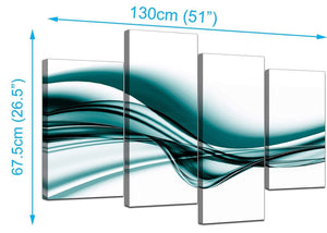 4 Part Set of Extra-Large Teal Canvas Wall Art