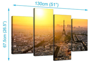 4 Panel Set of Modern Yellow Canvas Pictures