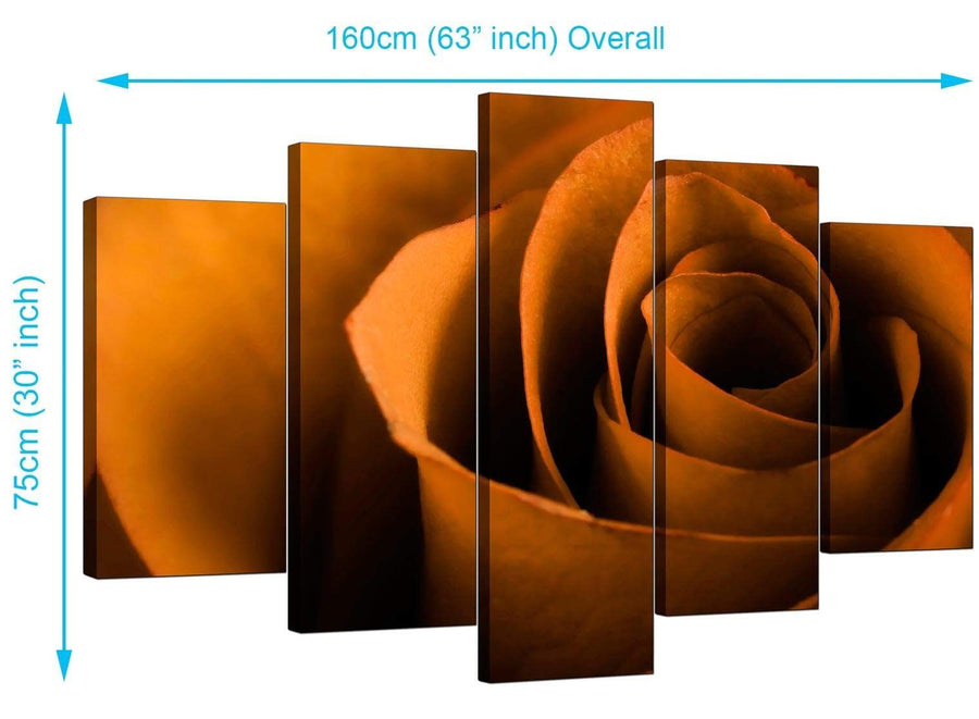 5 Piece Set of Living-Room Orange Canvas Wall Art