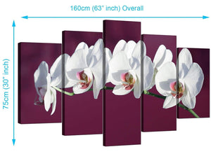 5 Piece Set of Modern Plum Canvas Picture