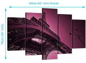 Five Part Set of Living-Room Plum Canvas Prints
