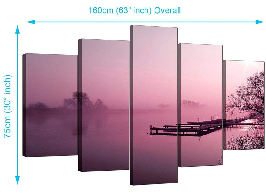 Five Panel Set of Cheap Plum Canvas Wall Art