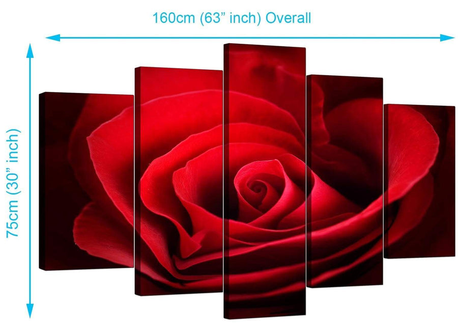 Set Of Five Living-Room Red Canvas Art