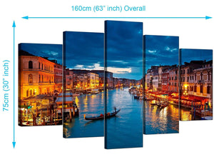 Five Part Set of Living-Room Blue Canvas Pictures